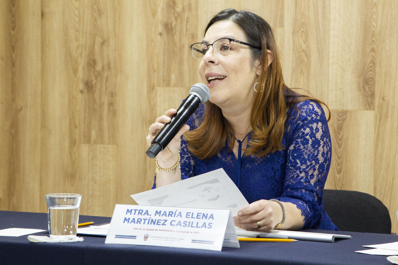 La Jefa de la Unidad de Pertinencia y Calidad de la CIEP, maestra María Elena Martínez Casillas, en uso de la palabra