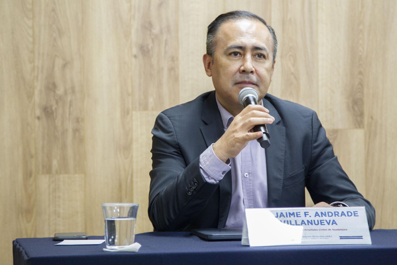 El director general del OPD Hospital Civil de Guadalajara, Jaime Federico Andrade Villanueva, en uso de la palabra