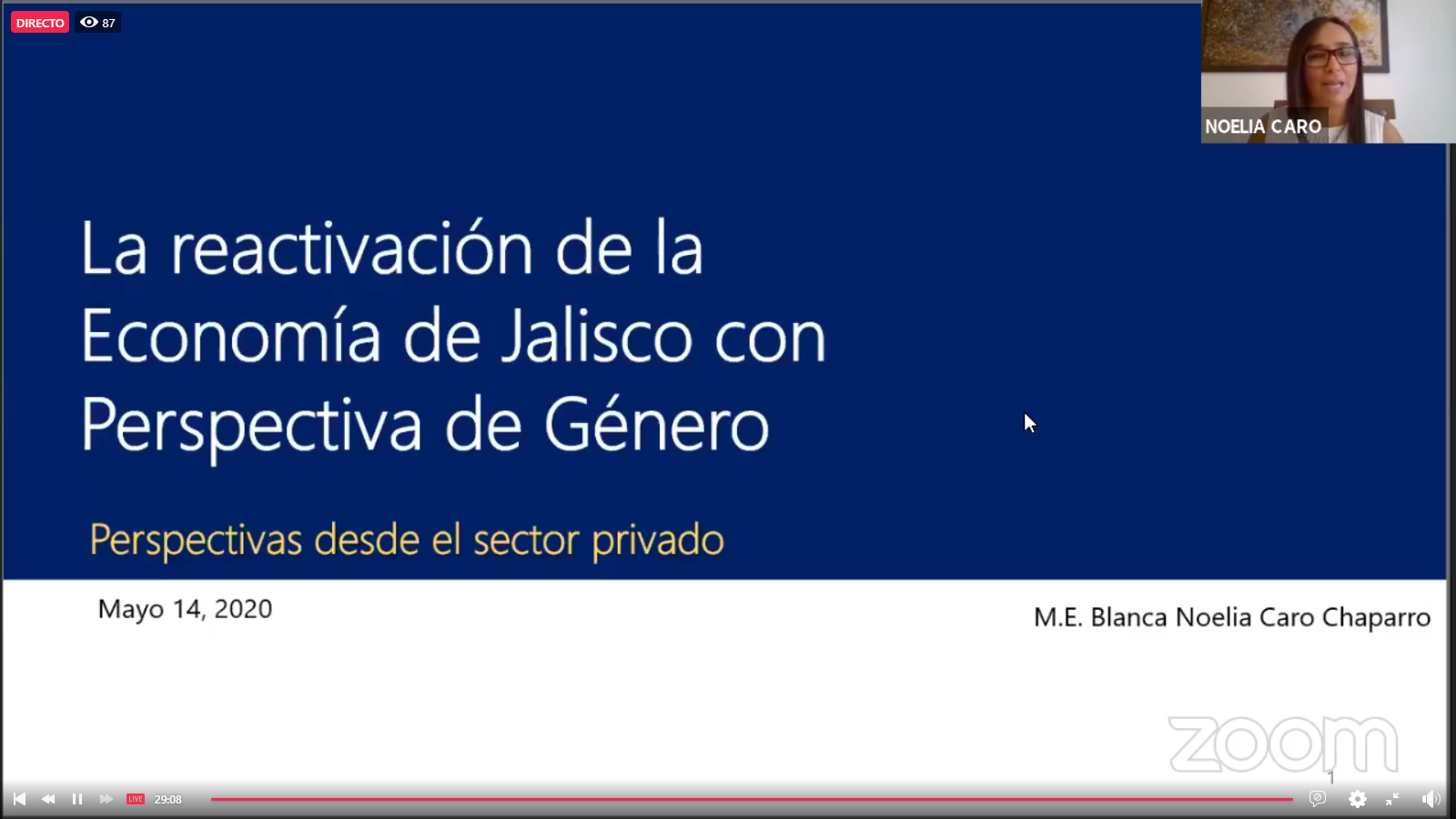 """El webinar: """"La reactivación de la economía de Jalisco con perspectiva de género"""", organizado por el Centro Universitario de Ciencias Económico Administrativas (CUCEA)"""