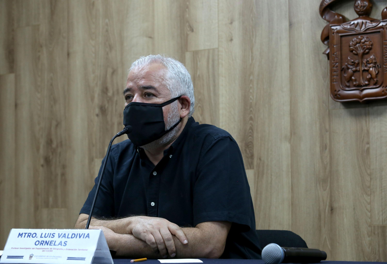 En conferencia de prensa el investigador del Centro Universitario de Ciencias Sociales y Humanidades (CUCSH), de la Universidad de Guadalajara, maestro Luis Valdivia Ornelas