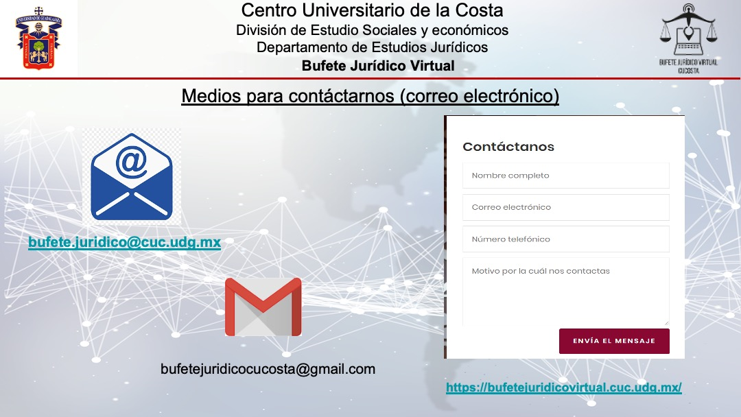 Diapositivas del Bufete jurídico virtual del Centro Universitario de la Costa (CUCosta), de la Universidad de Guadalajara