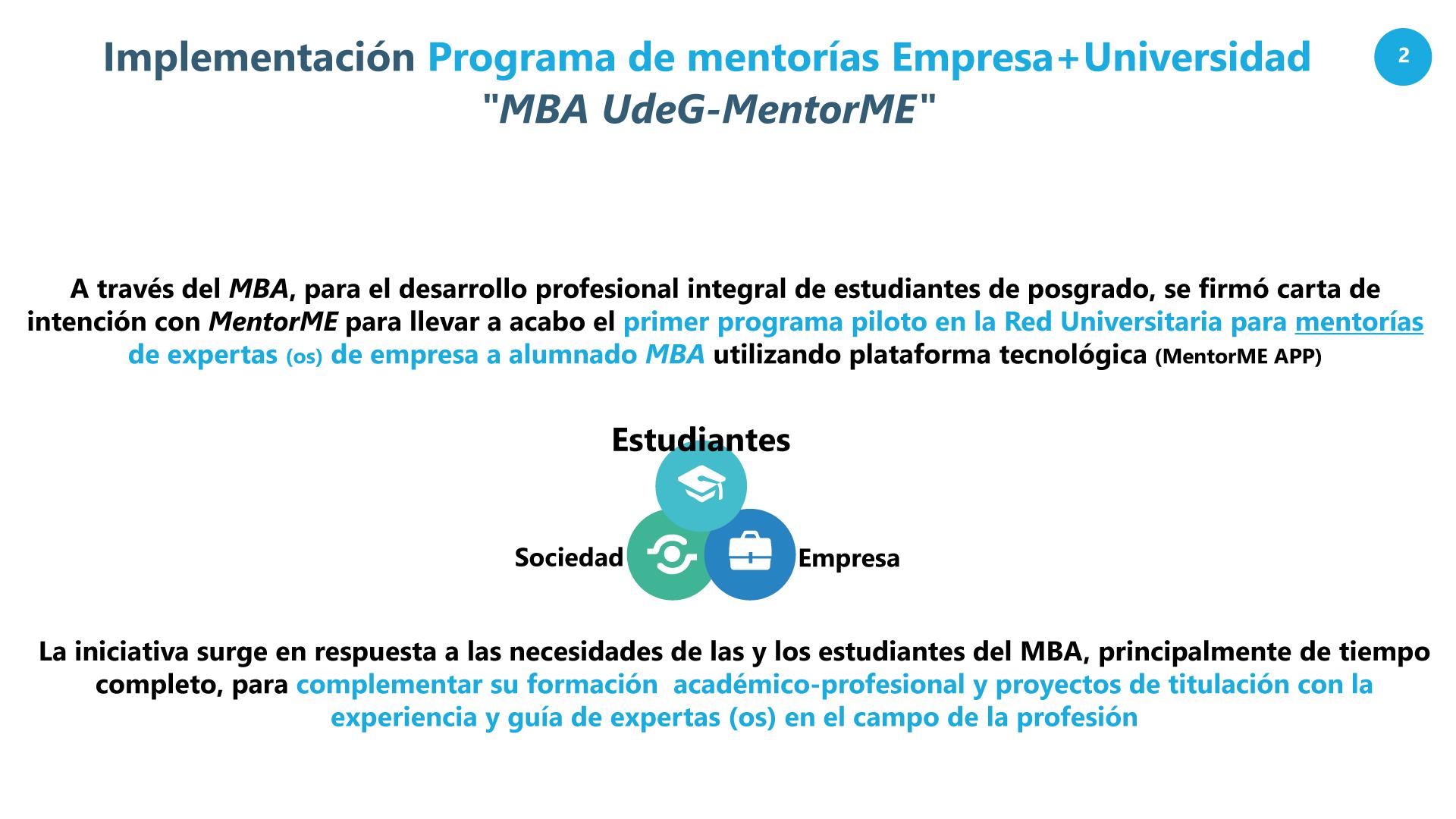 Diapositivas de la presentación de proyecto MentorMe