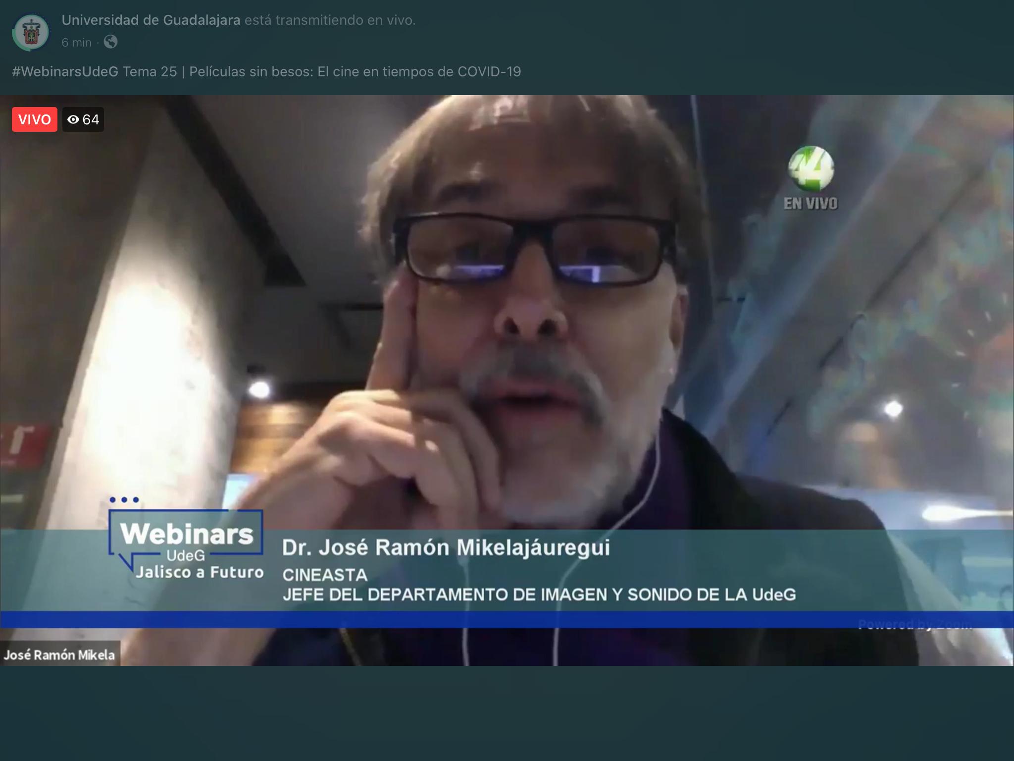 """UdeG y Jalisco a Futuro presentaron el webinar """"Películas sin besos: el cine en tiempos del COVID-19"""""""
