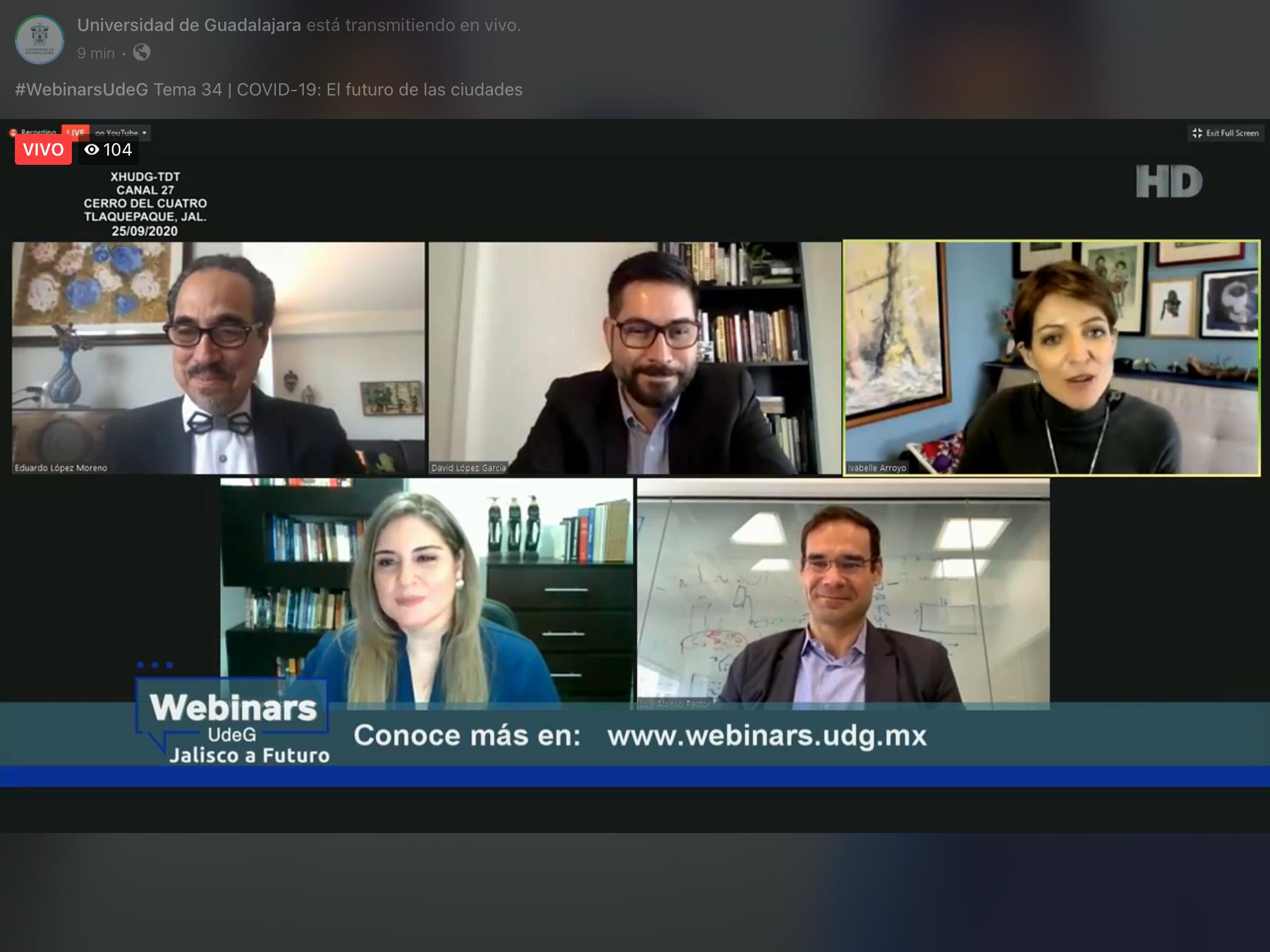 """Realizan webinar """"El futuro de las ciudades"""", organizado por UdeG y Jalisco a Futuro"""