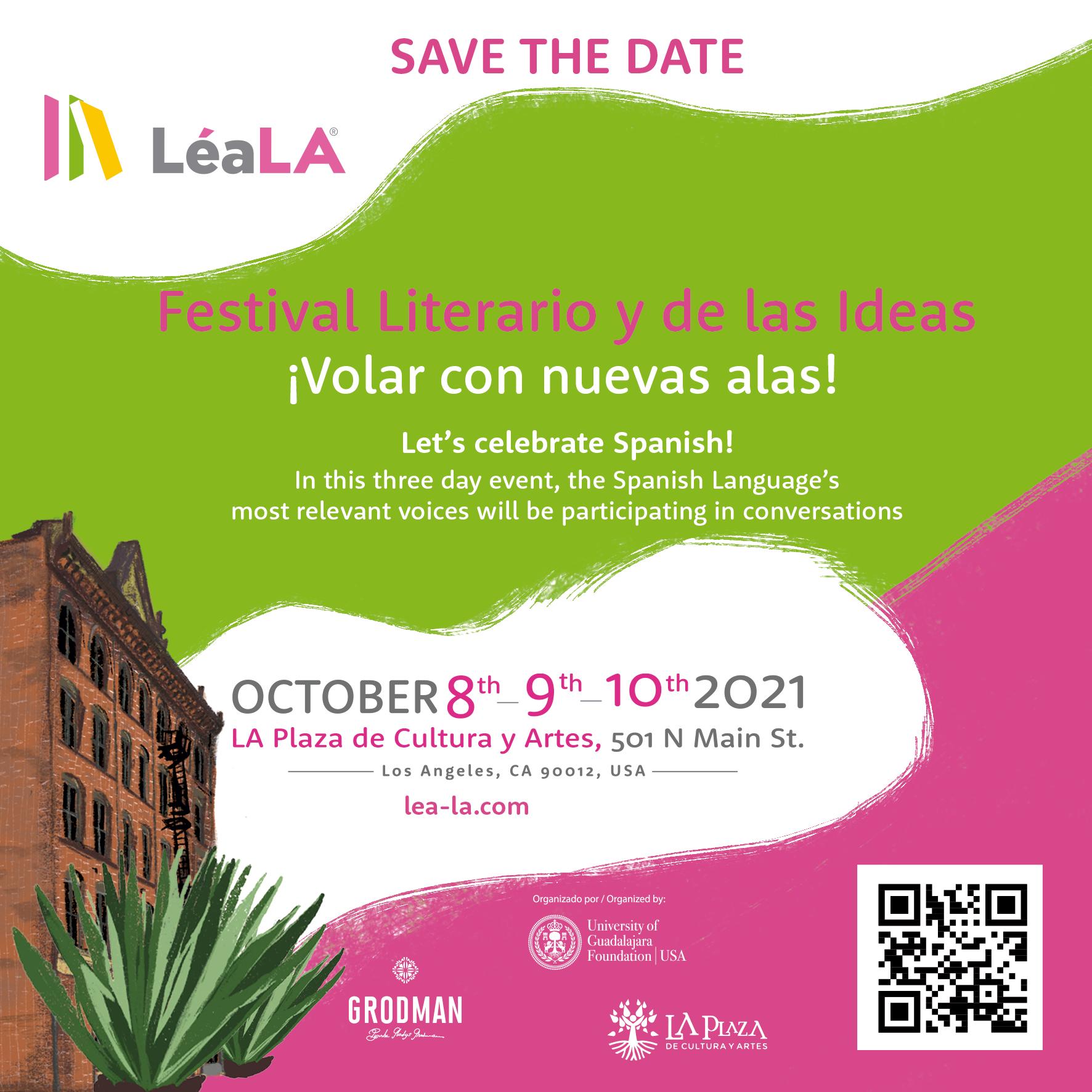 Se realizará del 8 al 10 de octubre en Los Ángeles, en su formato de Festival Literario en la Plaza de Cultura y Artes