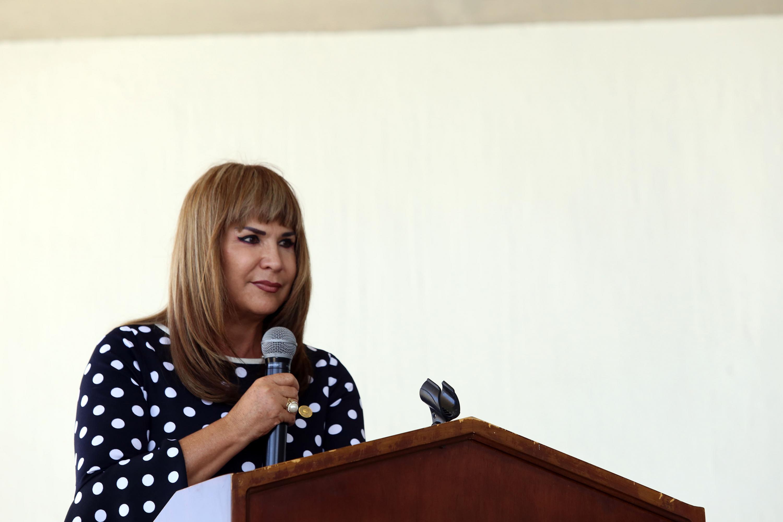 Directora de la Preparatoria 16, doctora Rosalina Mariscal Flores, en uso de la palabra