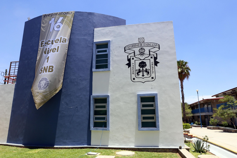 Fachada del auditorio Maestro José Trinidad Padilla López, ubicado en la Preparatoria 16 en el Municipio de Tlaquepaque