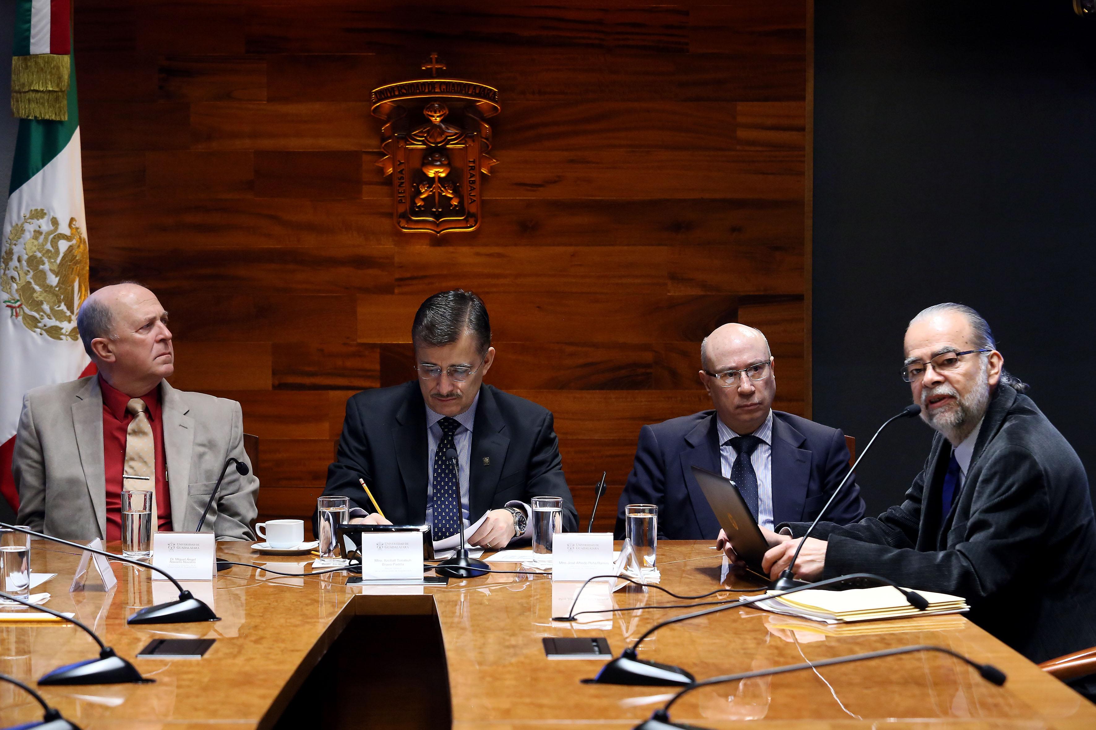 Dr. Miguel Ángel Navarro Navarro, Mtro. Itzcóatl Tonatiuh Bravo Padilla, Mtro. José Alfredo Peña Ramos y maestro Roberto Rivas Montiel