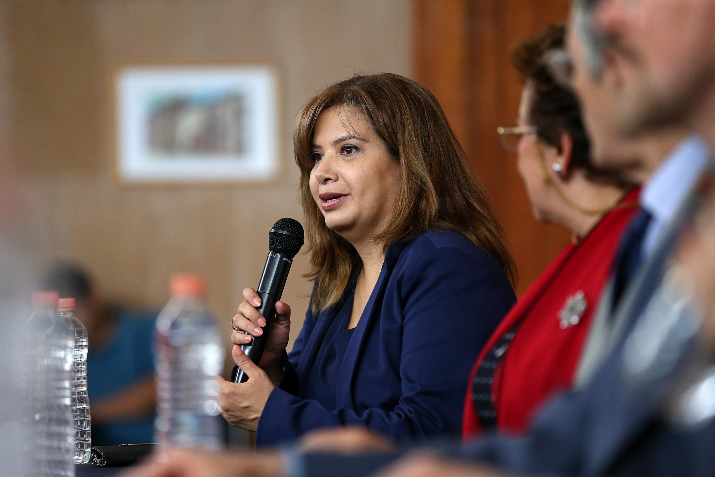 Blanca Catalina Ramírez Hernández, académica y una de las autoras del libro; con micrófono en mano, haciendo uso de la palabra, en el evento.