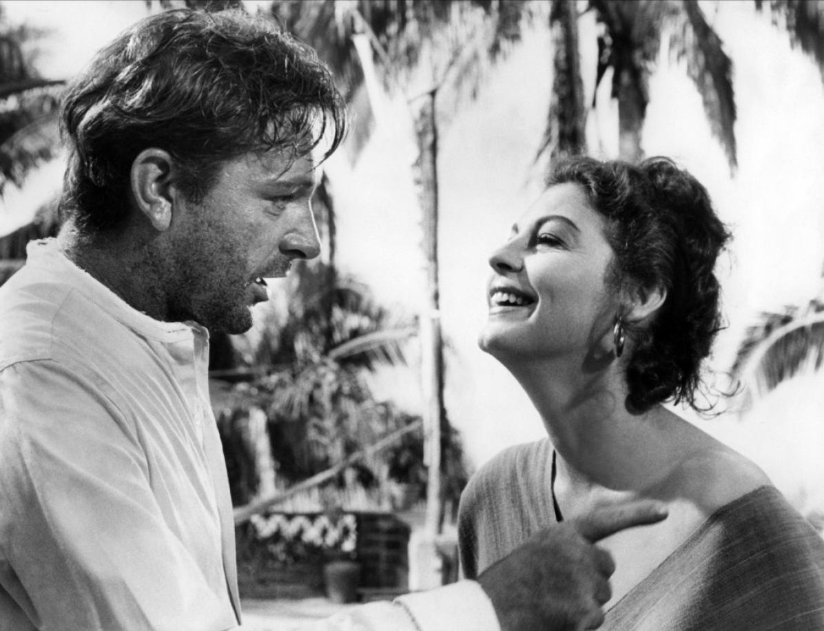 """Escena de la película """"La noche de la iguana""""; en donde muestra a los actores principales de la película."""