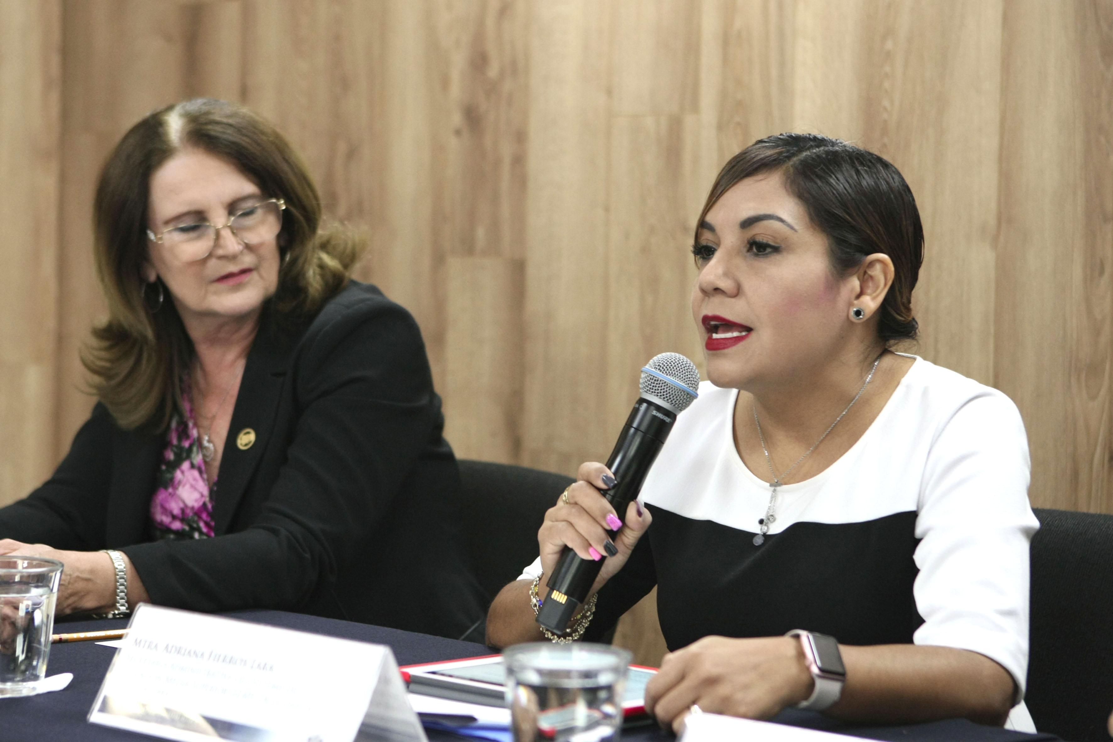 Mtra. Adriana Fierros Lara haciendo uso de la palabra