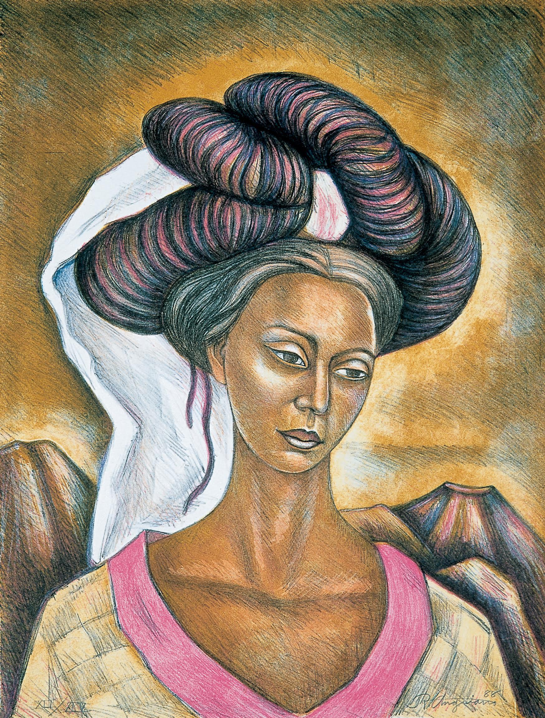 Mujer indigena plasmada en una obra pictorica de Raúl Anguiano