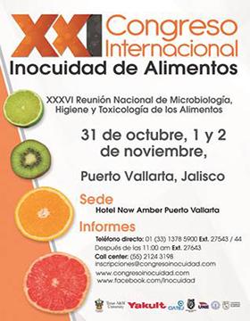 Cartel informativo para promocionar el Congreso Internacional Inocuidad de Alimentos 2019 que se realizará del 31 de octubre al 2 de noviembre