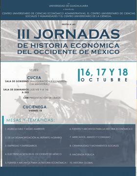 Cartela para promocionar las Jornadas de Historia Económica del Occidente de México