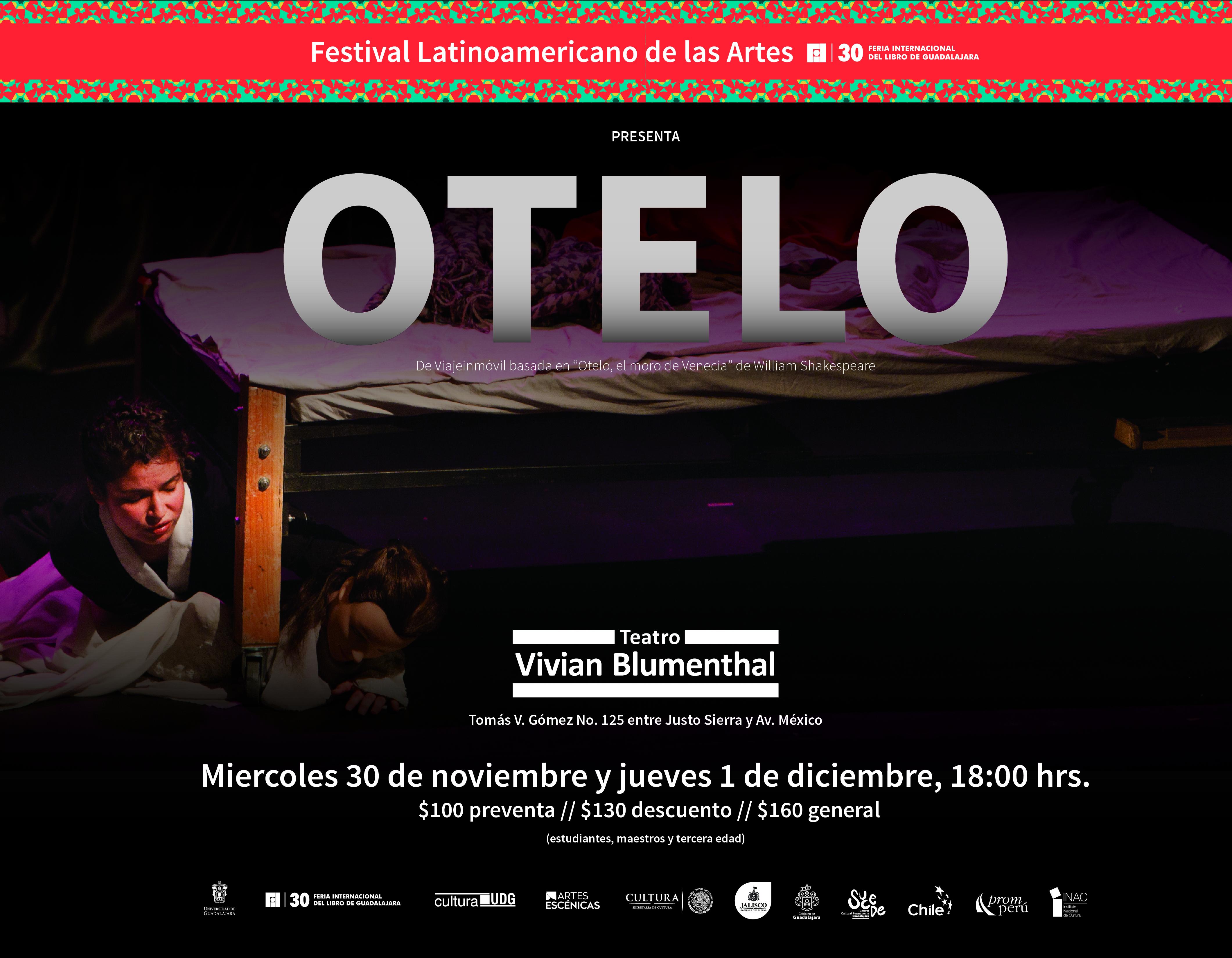 Cartel con texto del evento e imagen de puesta en escena: Otelo