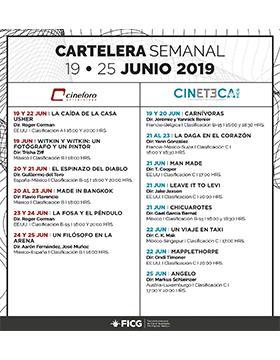 Folleto informativo de la Cartelera Cineteca y Cineforo. A llevarse a acabo del 19 al 25 de junio.