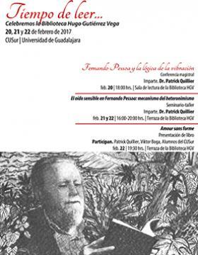 Cartel con texto e imagen de Hugo Gutiérrez Vega