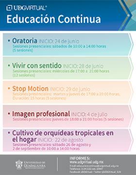 Cartel con texto informativo de cursos de Educación Continua que ofrece DGVirtual de junio a septiembre, con enlace, e-mail y teléfono para mayores informes.