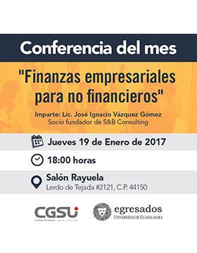Cartel con texto de la conferencia: Finanzas empresariales para no financieros