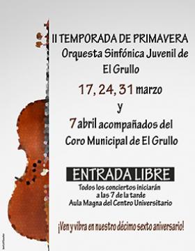 Cartel con fecha y lugar de II Temporada de Primavera del Orquesta Sinfónica Juvenil de El Grullo