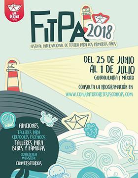 Cartel informativo sobre el Festival Internacional de Teatro para los primeros años, Del 25 de junio al 1 de julio en el Conjunto de Artes Escénicas