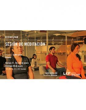 Cartel informativo sobre la Sesión de meditación, el 11, 18 y 25 de enero, a las 10:30 h. en el Salón planta alta, Librería Carlos Fuentes