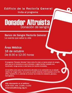 Cartel de la convocatoria de Donador Altruista