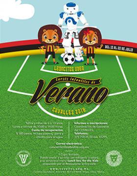 Cartel informativo sobre los Cursos infantiles de verano CUValles 2018, Del 12 al 20 de julio en el Centro Universitario de los Valles