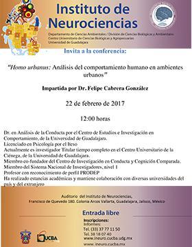 Cartel con texto con fecha, hora y ponente de la conferencia:  Homo urbanus