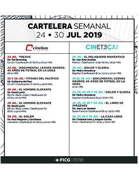 Folleto informativo de la Cartelera semanal del Cineforo Universidad y Cineteca FICG. Del 24 al 30 de julio