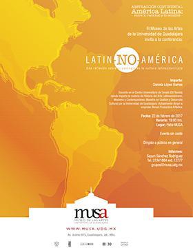Cartel con texto de fecha, hora y ponente de la conferencia: LATIN-NO-AMÉRICA