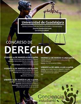 Cartel con día hora y lugar del Congreso de Derecho