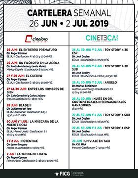 Folleto informativo de la Cartelera semanal del Cineforo Universidad y Cineteca FICG. Del 26 junio - 2 julio