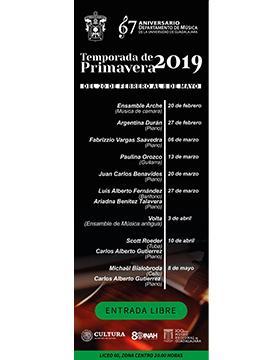 Cartel informativo sobre la Temporada de Primavera 2019, del 20 de febrero al 8 de mayo, 20:00 h. en el Museo Regional de Guadalajara