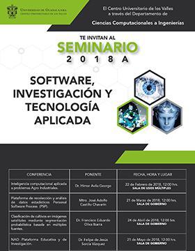 Cartel informativo sobre el Seminario de Software, Investigación y Tecnología Aplicada 2018A los días 22 de febrero, 21 de marzo, 24 de abril y 21 de mayo, 12:00 h.  en la Sala de Usos Múltiples y Sala de Gobierno Carretera Guadalajara - Ameca Km. 45.5, Ameca, Jalisco