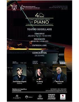 """Cartel informativo del Cuarto Concurso Nacional de Piano """"Universidad de Guadalajara"""" a desarrollarse del 8 al 10 de julio, 10:00 horas. Premiación 10 de julio, 14:00 horas."""