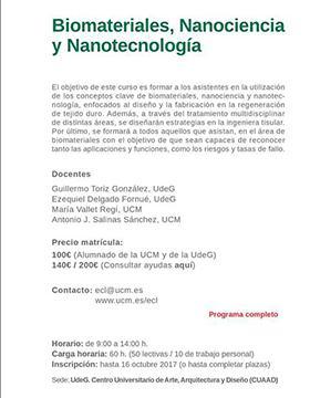 Cartel con texto informativo del Curso: Biomateriales, Nanociencia y Nanotecnología, a impartirse por varios docentes expertos en el tema, del 16 al 27 de octubre, en el CUAAD, con horarios de lunes a viernes, de 9:00 a 14:00 horas.