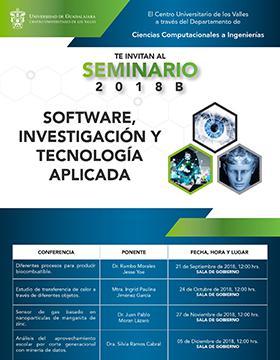 Cartel informativo sobre el Seminario de Software, Investigación y Tecnología Aplicada 2018B, los días 21 de septiembre, 24 de octubre, 27 de noviembre y 5 de diciembre, a las 12:00 h
