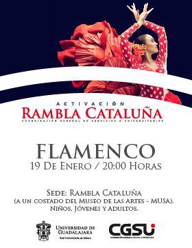 Cartel con texto e imagen de una mujer bailando flamenco