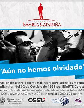 """Cartel del evento Activación Rambla Cataluña """"Aún no hemos olvidado"""""""