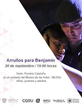 Cartel informativo sobre los Jueves de activación de Rambla Cataluña: Arrullos para Benjamín, el  20 de septiembre, 19:00 h. en la Rambla Cataluña