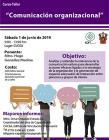 Cartel informativo del Curso Taller: Comunicación organizacional. A desarrollarse el 1 de junio, de 9:00 a 13:00 horas, en el Centro Universitario de Ciencias Económico Administrativas