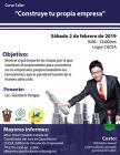 Cartel informativo sobre el Curso-taller: Construye tu propia empresa, el  2 de febrero, de 9:00 a 13:00 h. en el Centro Universitario de Ciencias Económico Administrativas