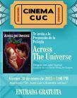"""Cartel de la cinta """"Across the Universe"""" en donde se ve una pareja a punto de besarse dentro de la silueta de una fresa"""