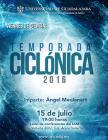 Cartel con texto de la conferencia: Temporada ciclónica 2016