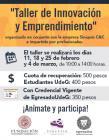 Cartel con texto fechas, ponente y costo del taller