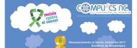 Cartel informativo y de invitación a la campaña: Recicla contra el cáncer. Centro de acopio: Calle Tenerías 699, colonia El Retiro, los martes, jueves y sábados, de 10:00 a 13:00 horas.