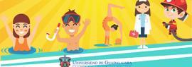 """Cartel informativo de los cursos de verano 2019 """"Pequeños Universitarios"""". A realizarse del 8 al 26 de julio, de 9:00 a 14:00 horas, en el Centro Universitario del Sur (CUSur)"""