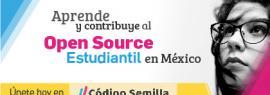 Cartel informativo sobre Aprende y contribuye al Open Source Estudiantil en México