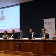 """Autoridades universitarias en la inauguración de la novena Semana Académica """"Letras para Volar"""", titulada """"Literacidad e inclusión"""""""